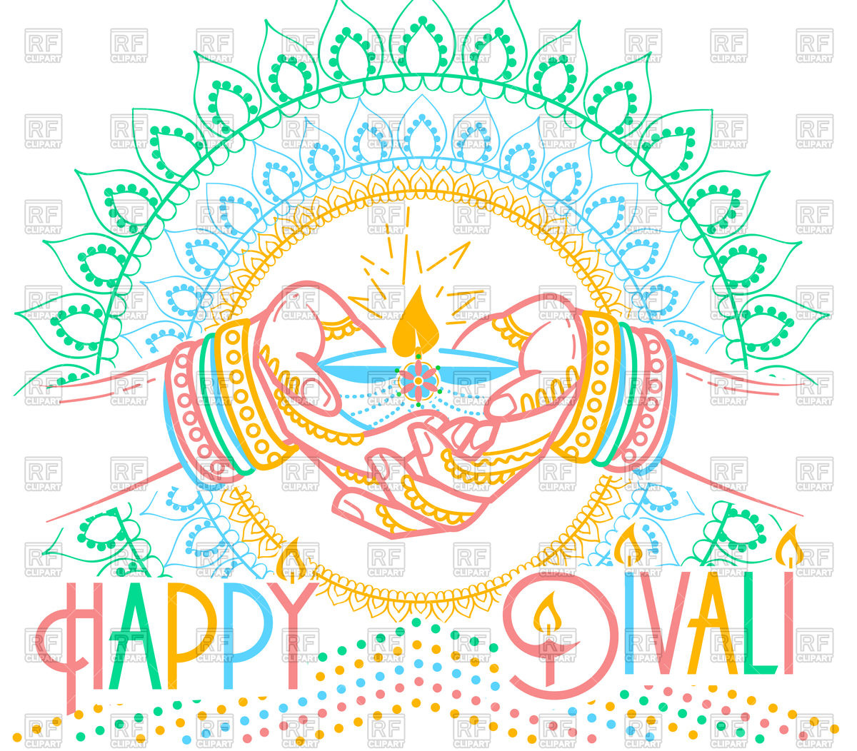 Happy diwali greeting card with hands and candle Stock Vector Image.