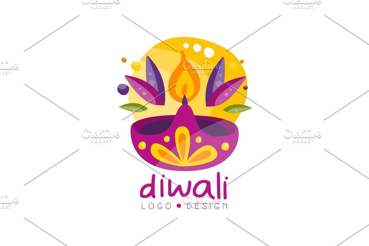 Happy Diwali logo design, festival.
