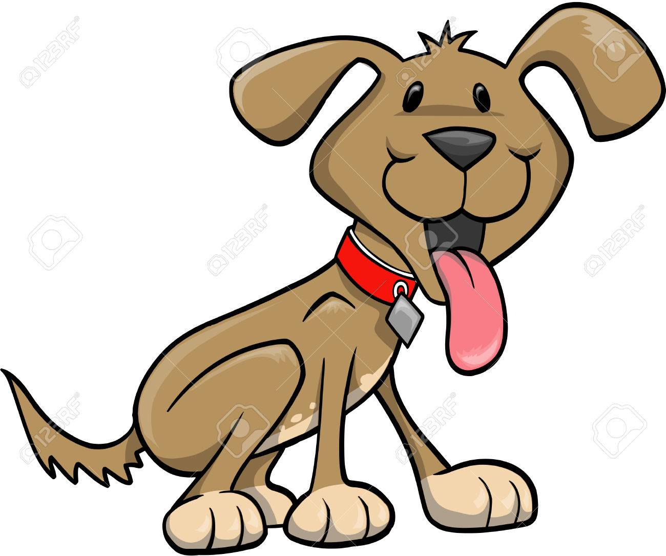 Happy Dog Vector Illustration.