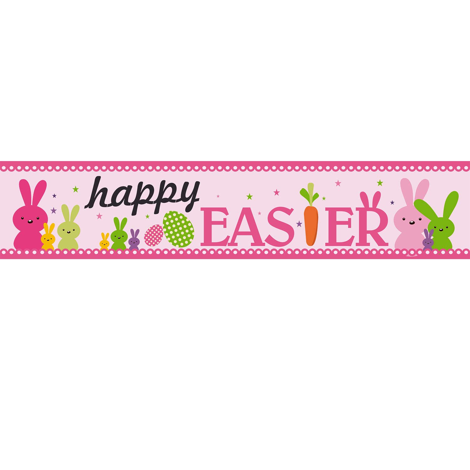 Frienda Happy Easter Banner Decorations, Easter Bunny Egg Garland Easter  Party Day Suppliers with 20 Glue Point Dots (Easter Pink).