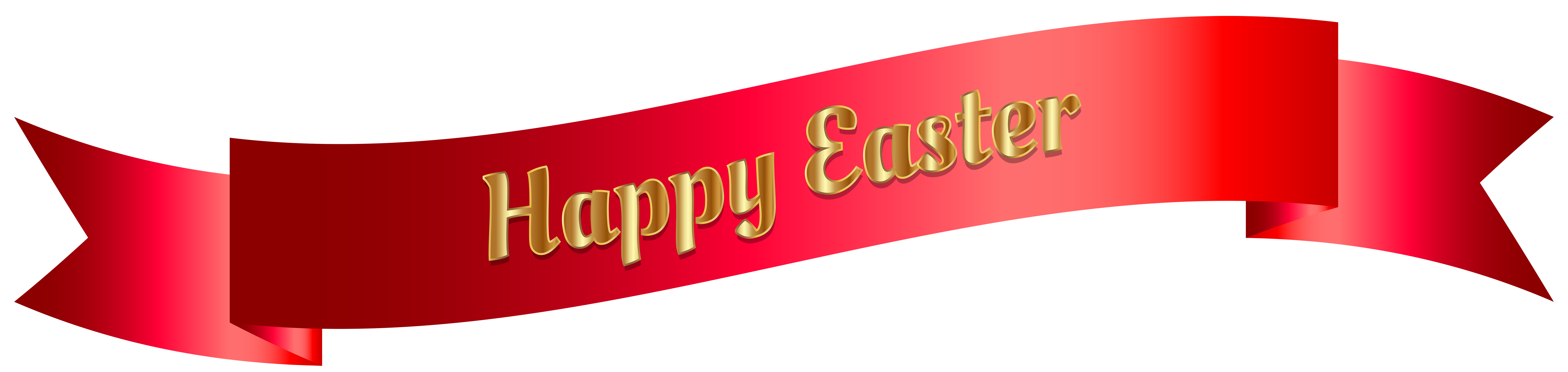 Red Happy Easter Banner PNG Clip Art Image.