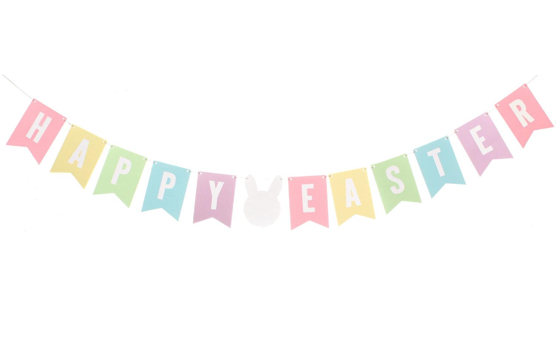 Pastel Easter Flag Banner / Happy Easter Banner / Easter Bunny.