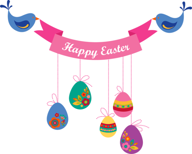 Happy Easter Banners Clipart.