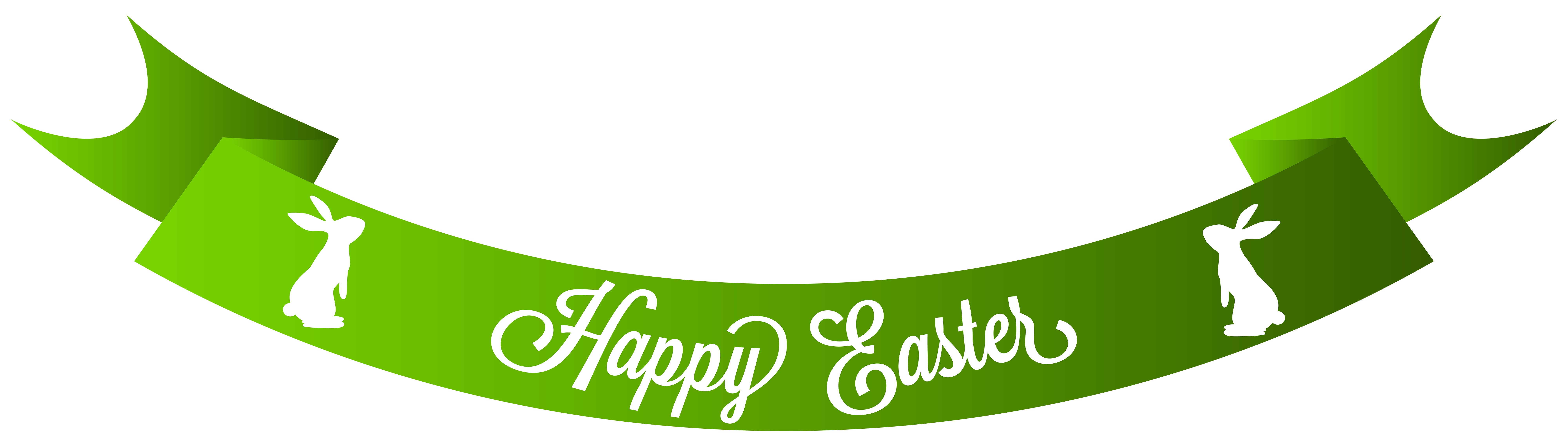 Green Happy Easter Banner PNG Clip Art Image.