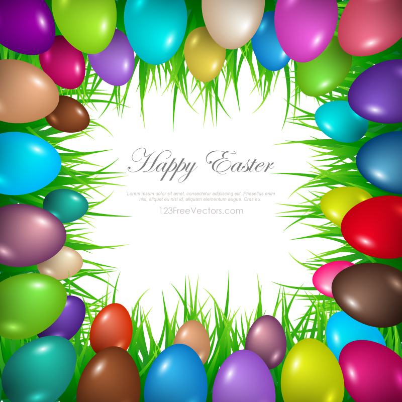 Colorful Easter Egg Border Clip Art.