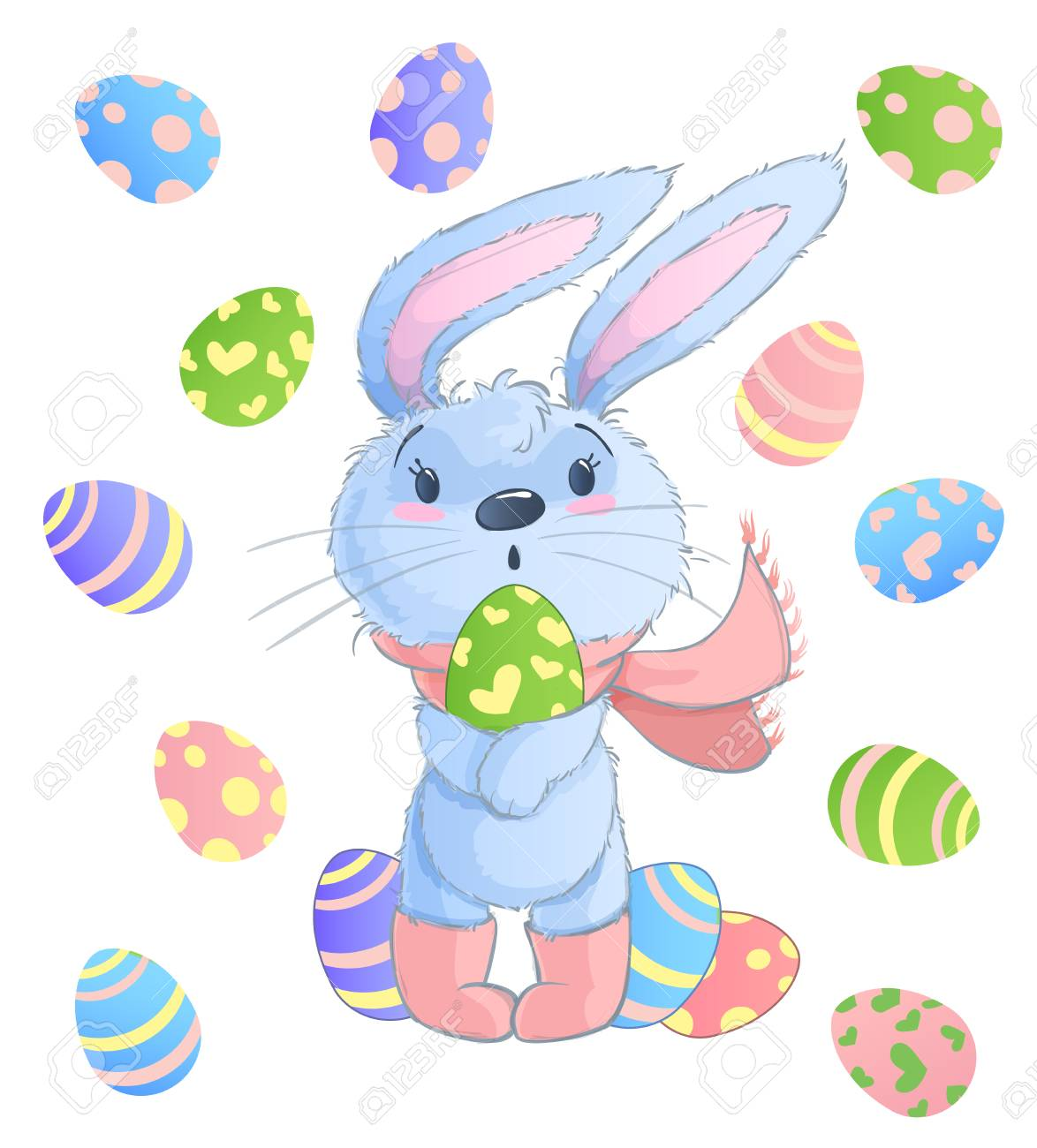 Happy Easter Bunny. Vector illustration clipart set for Easter...