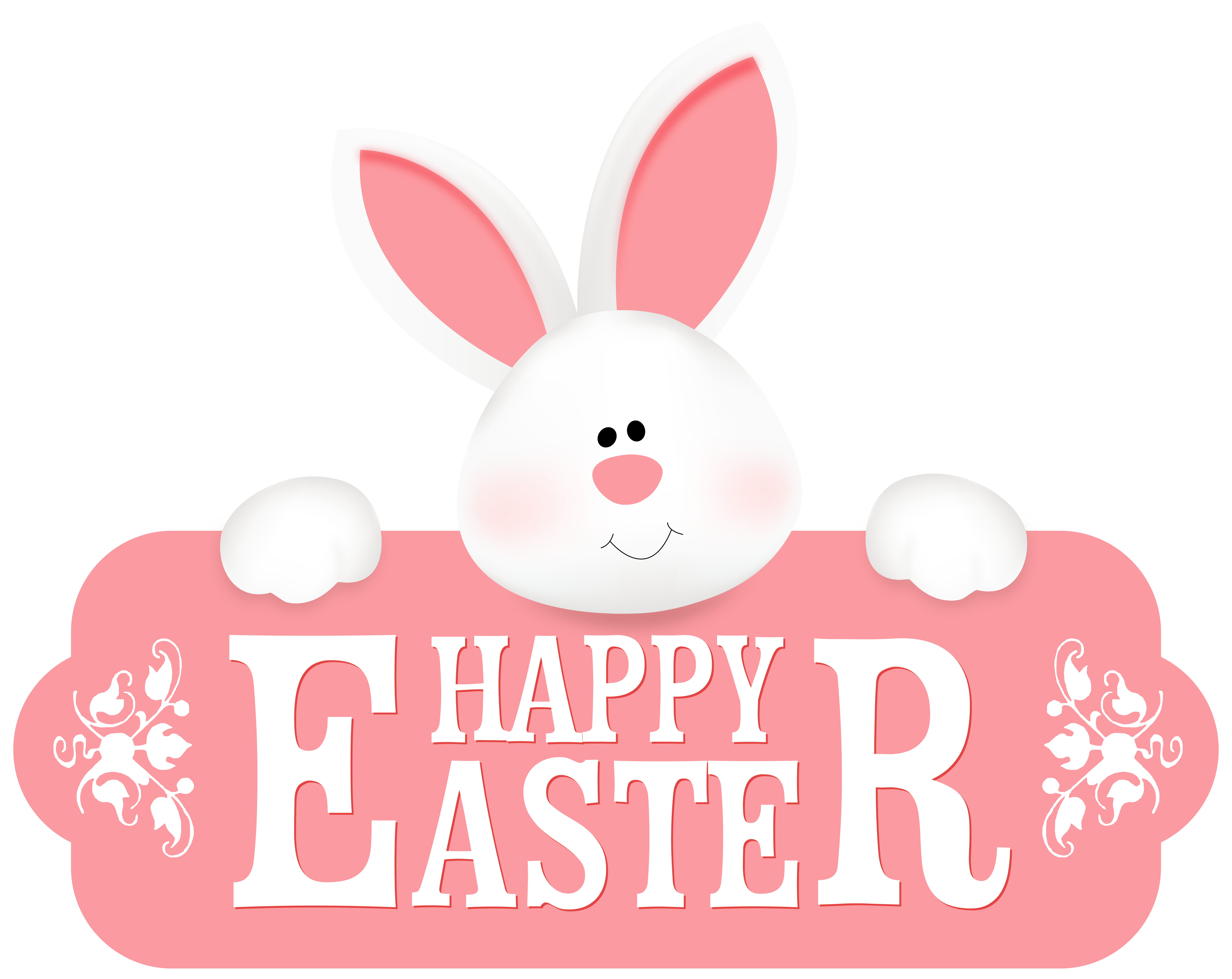 Happy Easter with Bunny PNG Clipart Image.