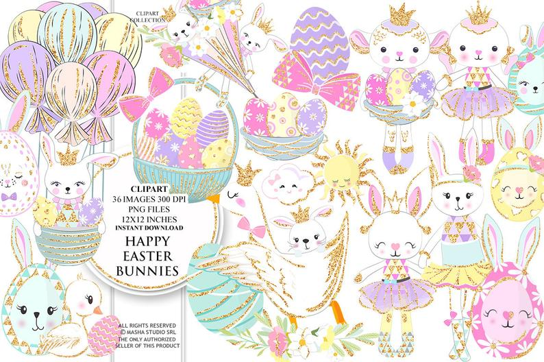 Easter Clipart Happy Easter Clip Art Easter Bunnies Illustrations Cute  Easter Planner Stickers Lamb Clipart Easter Eggs 36 images PNG files.