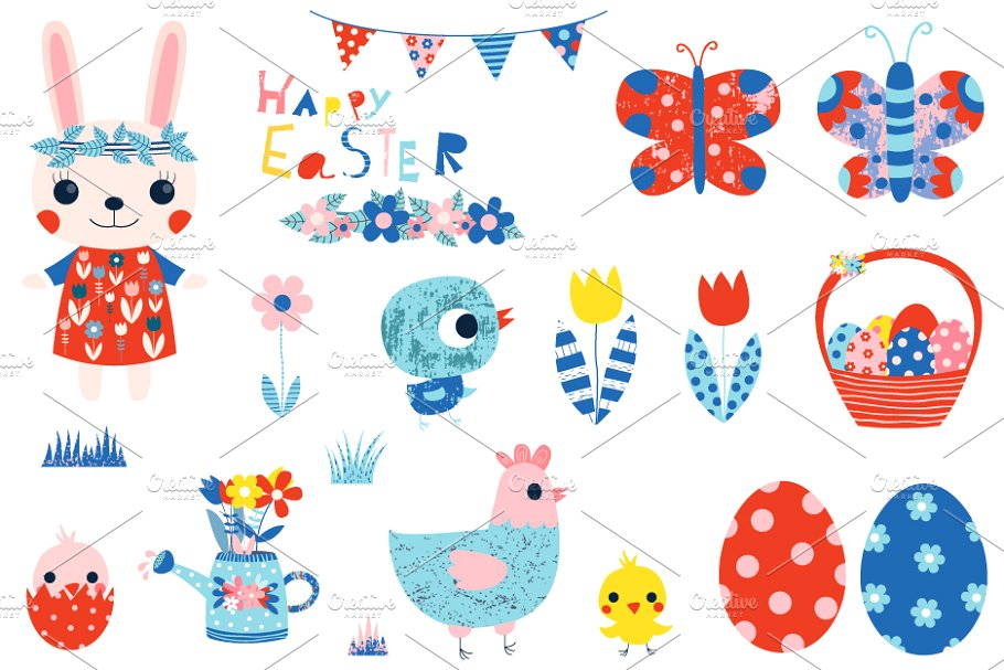 Cute Happy Easter clipart set.