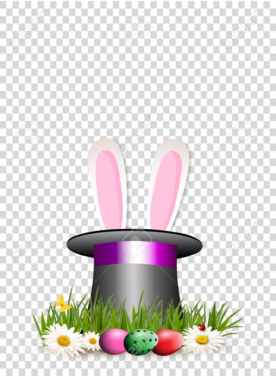 Happy Easter clip art for greeting card with cartoon pink bunny...