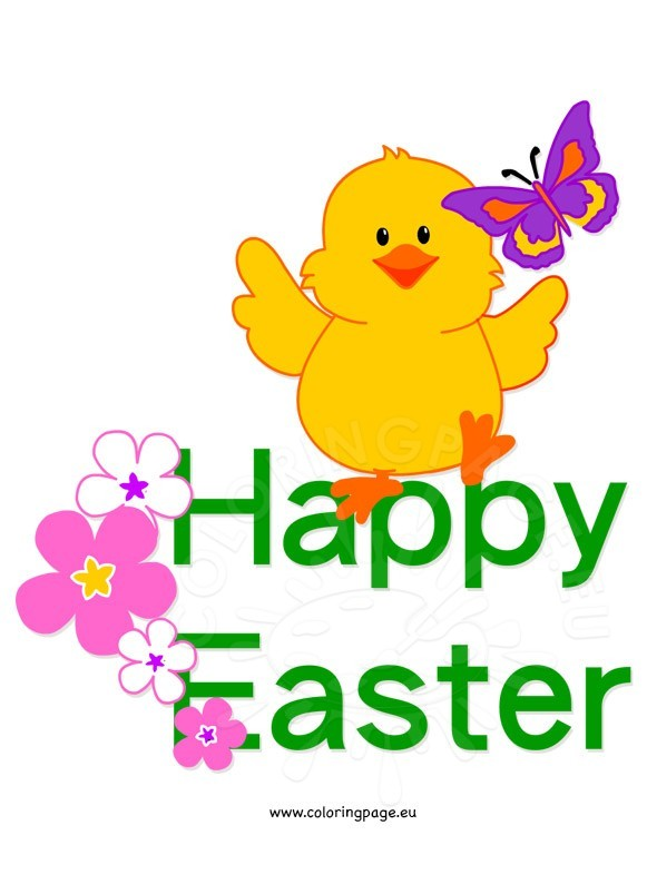 Happy easter chick clip art coloring page.