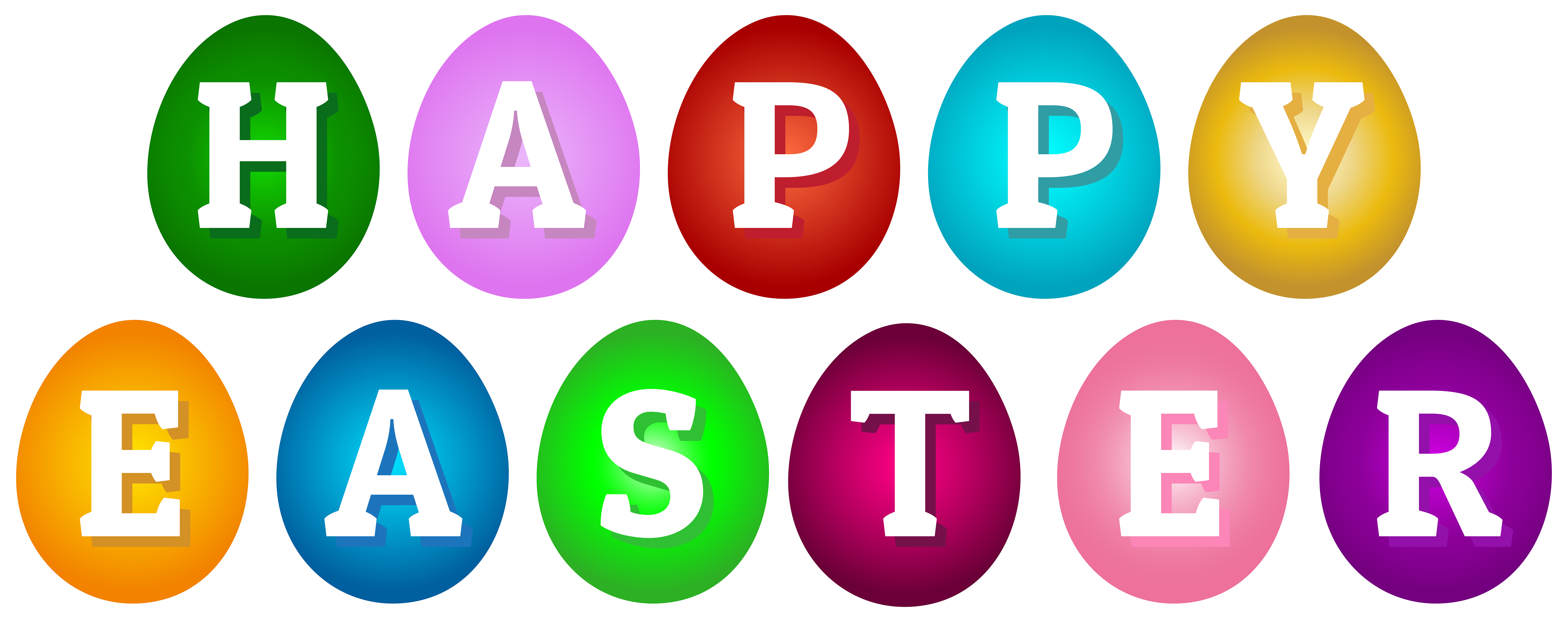 Happy Easter Eggs Clip Art PNG Image.