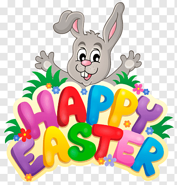 Happy Easter text, Easter egg, Green Happy Easter free png.
