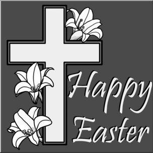 Clip Art: Religious: Happy Easter with Cross Grayscale I abcteach.