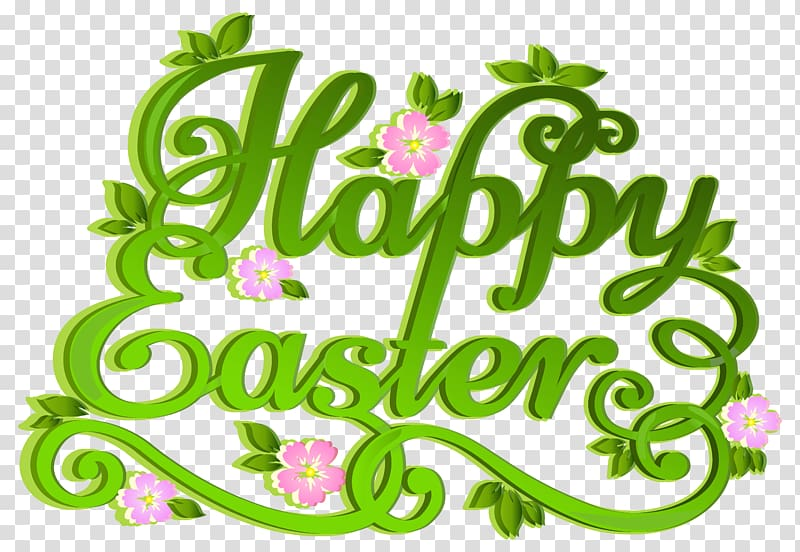Happy Easter text, Easter egg , Green Happy Easter.