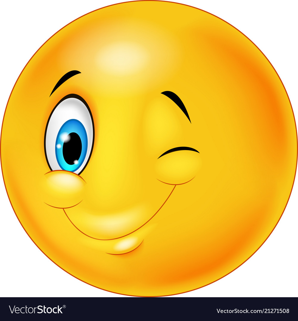 Smiley happy emoticon cartoon with eye blinking.