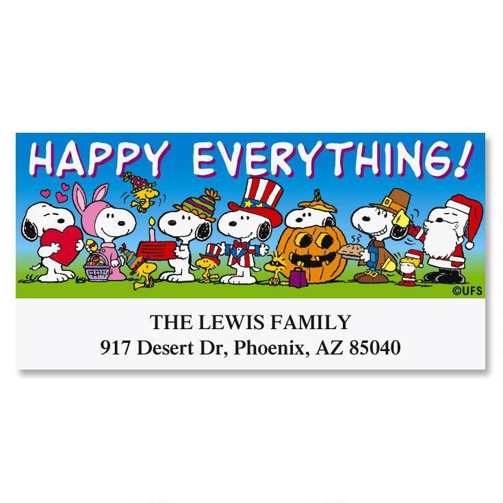 PEANUTS® Happy Everything Deluxe Return Address Labels.