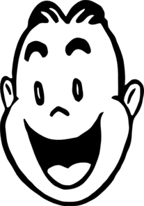 Clipart happy face black and white.
