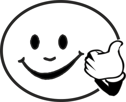 Happy face black and white clipart.