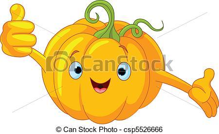 Cartoon face happy illustration orange pumpkin smiling Vector.