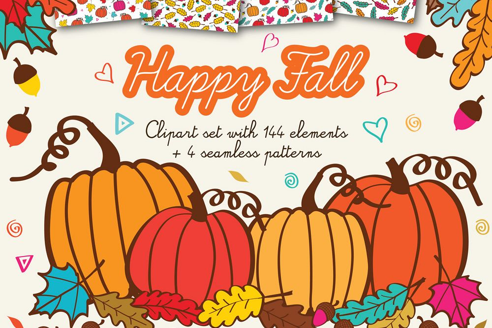 Happy Fall Clipart with acorns, leafs and pumpkins + 4 Autumn Background  Patterns.