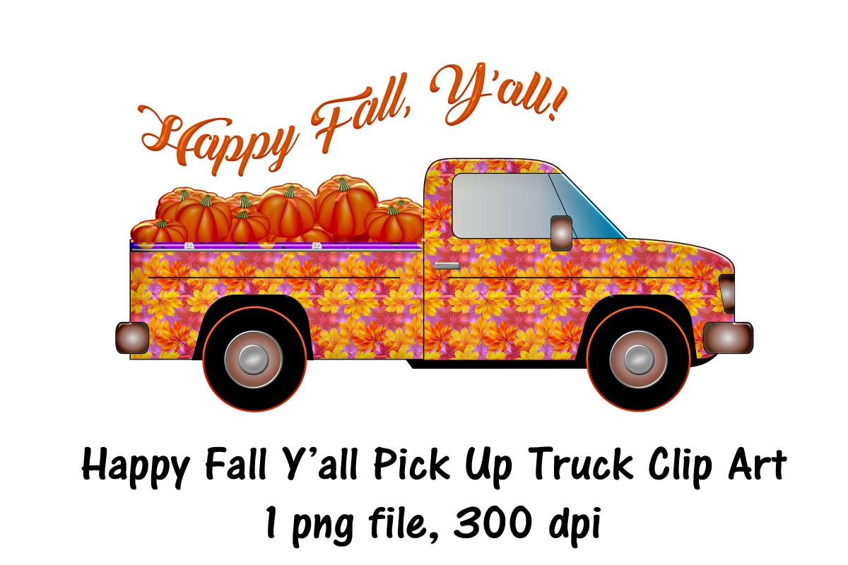 Autumn Pick Up Truck HAPPY FALL YALL Clip Art.