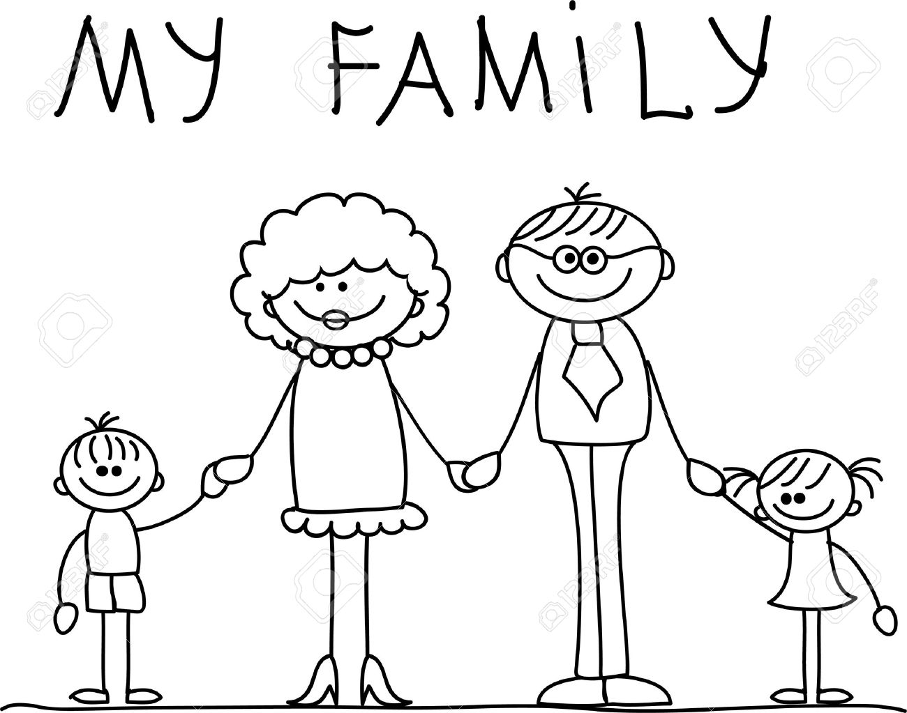 Happy family clipart black and white 7 » Clipart Station.
