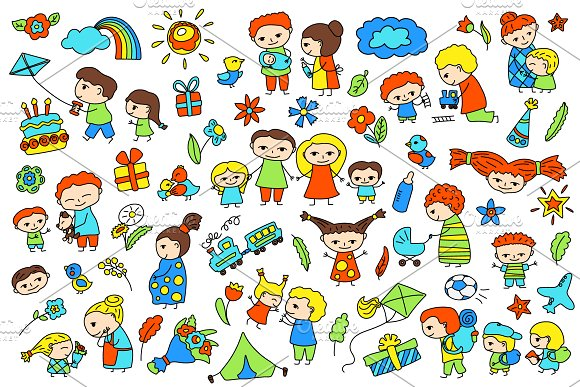 Happy Family Clipart + Patterns.