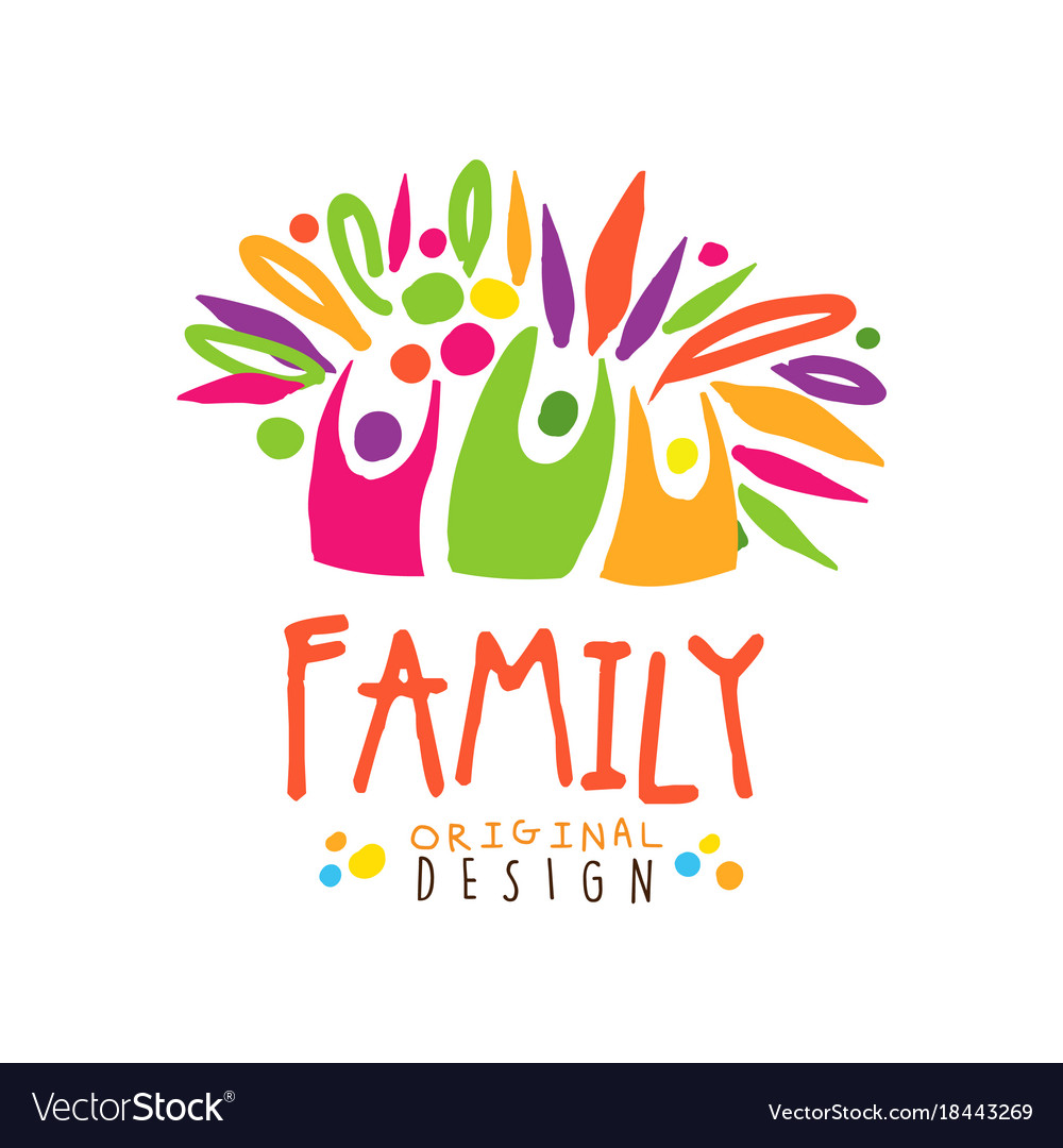 Colorful happy family logo design template.