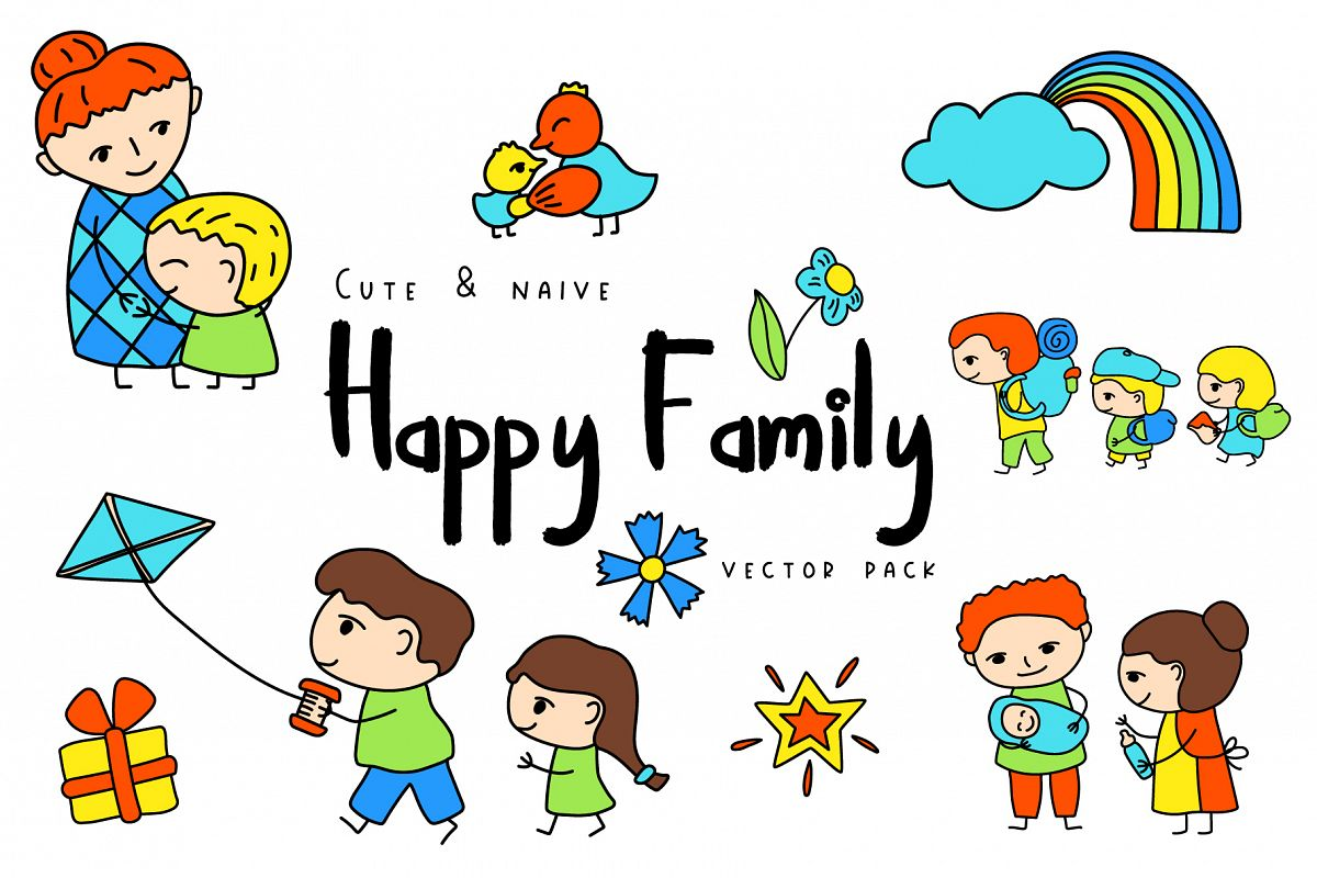 Happy Family Simple Vector Clipart and Patterns.