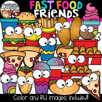 Fast Food Friends Clipart {Happy Food Clipart}.