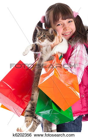 Stock Images of Happy girl holding cat k6202356.