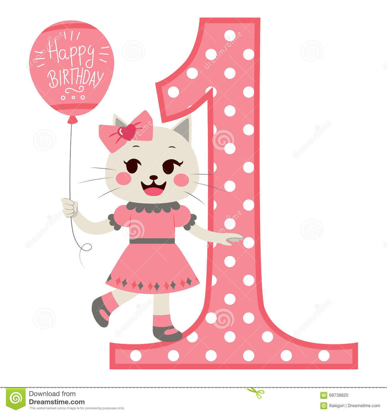 Cat Girl Happy Birthday Stock Vector.