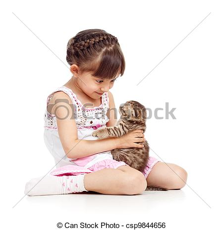 Stock Image of happy child girl holding cat csp9844656.