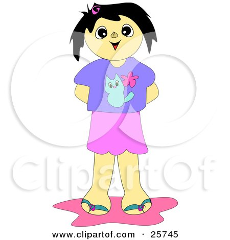 Clipart of a Happy Girl Holding Fresh Picked Flowers.