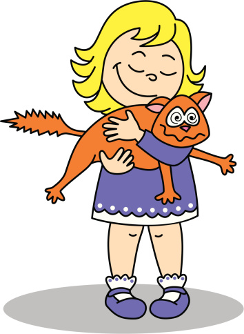 Drawing Of A Girl Holding Cat Clip Art, Vector Images.