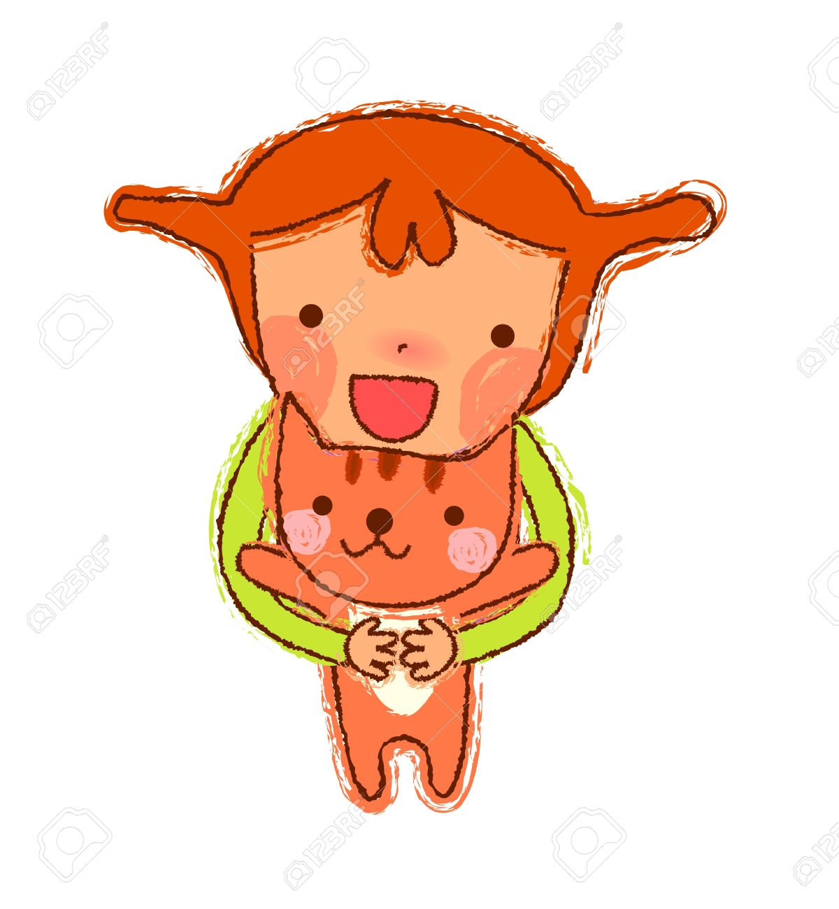 Portrait Of Girl Holding Cat Royalty Free Cliparts, Vectors, And.