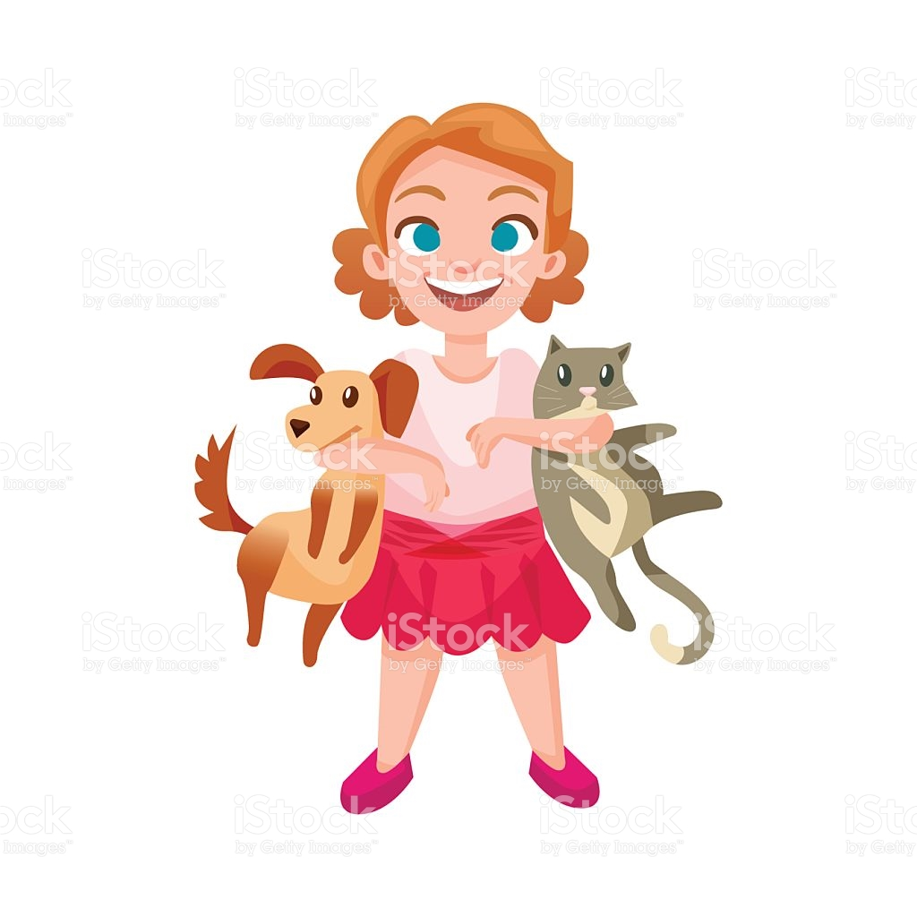 Happy Girl Holding Dog And Cat stock vector art 636077818.
