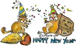 New Years Clipart of Cute Cartoon Images.