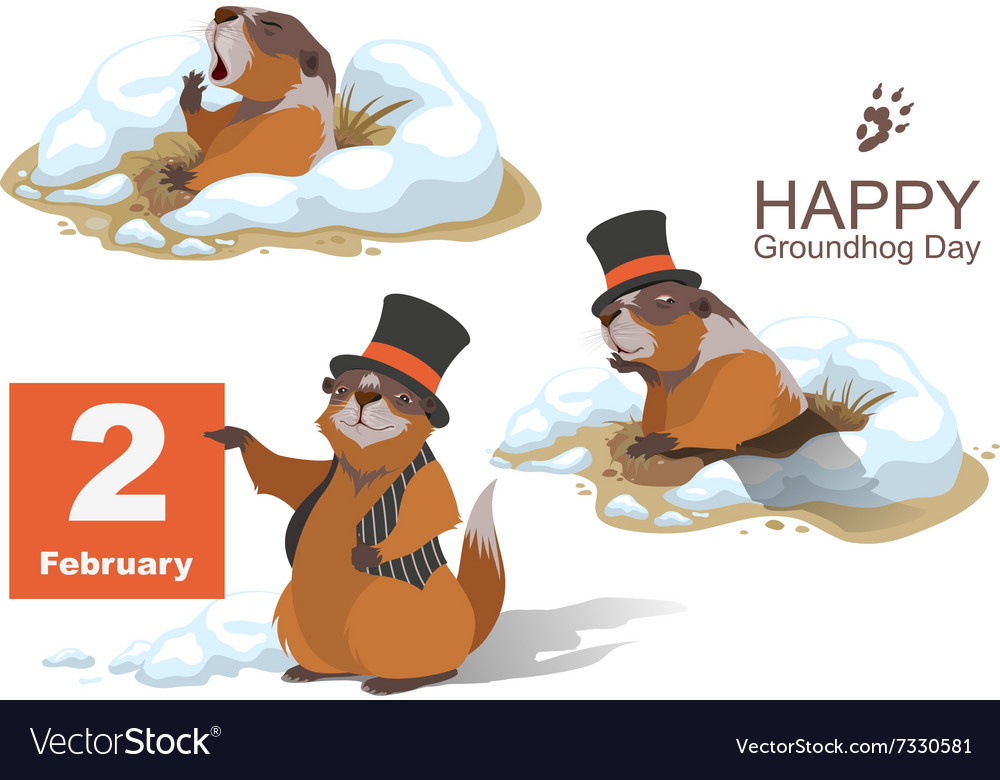 Happy Groundhog Day Marmot holding February 2.