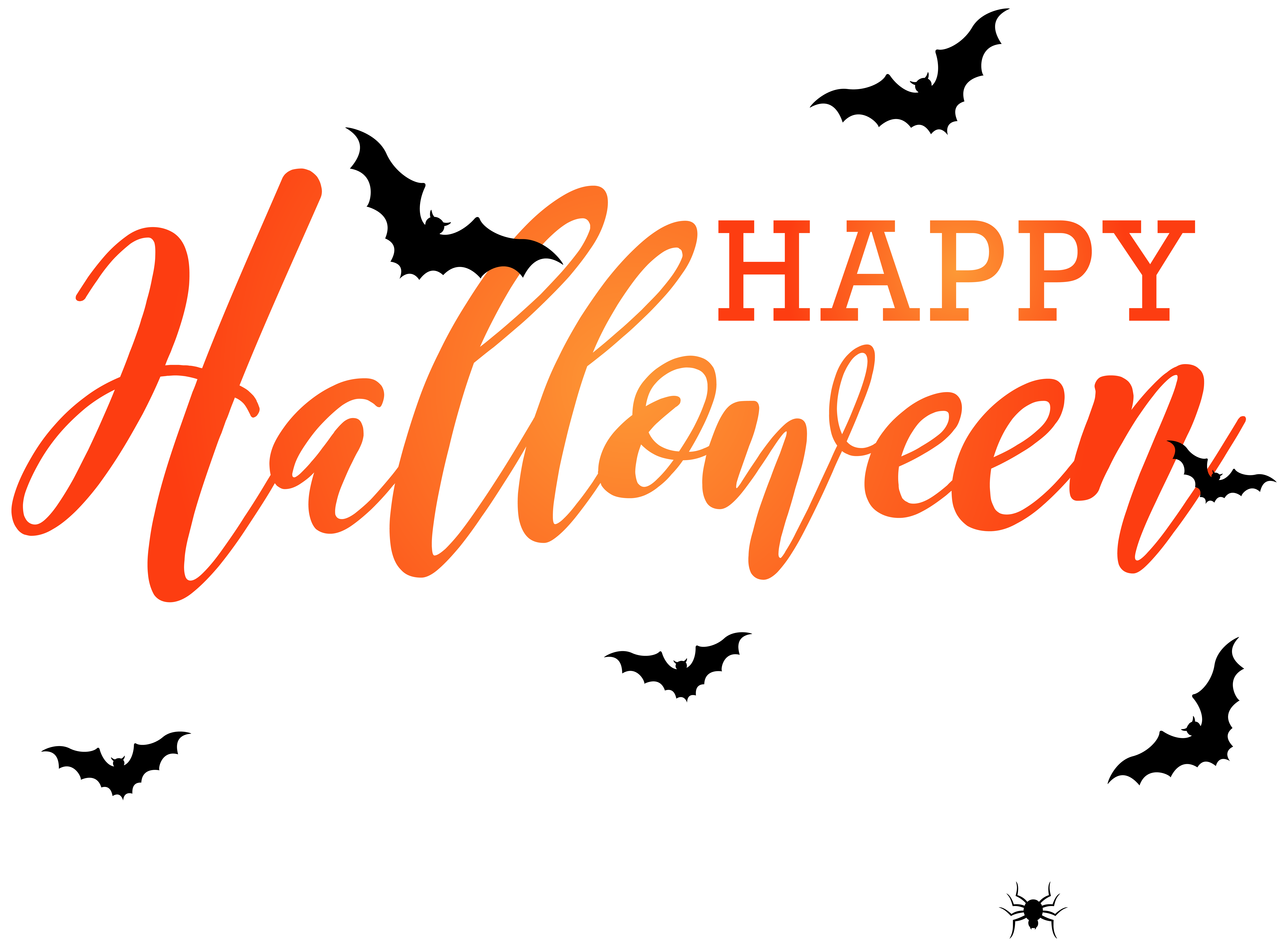 Happy Halloween with Bats PNG Clip Art Image.