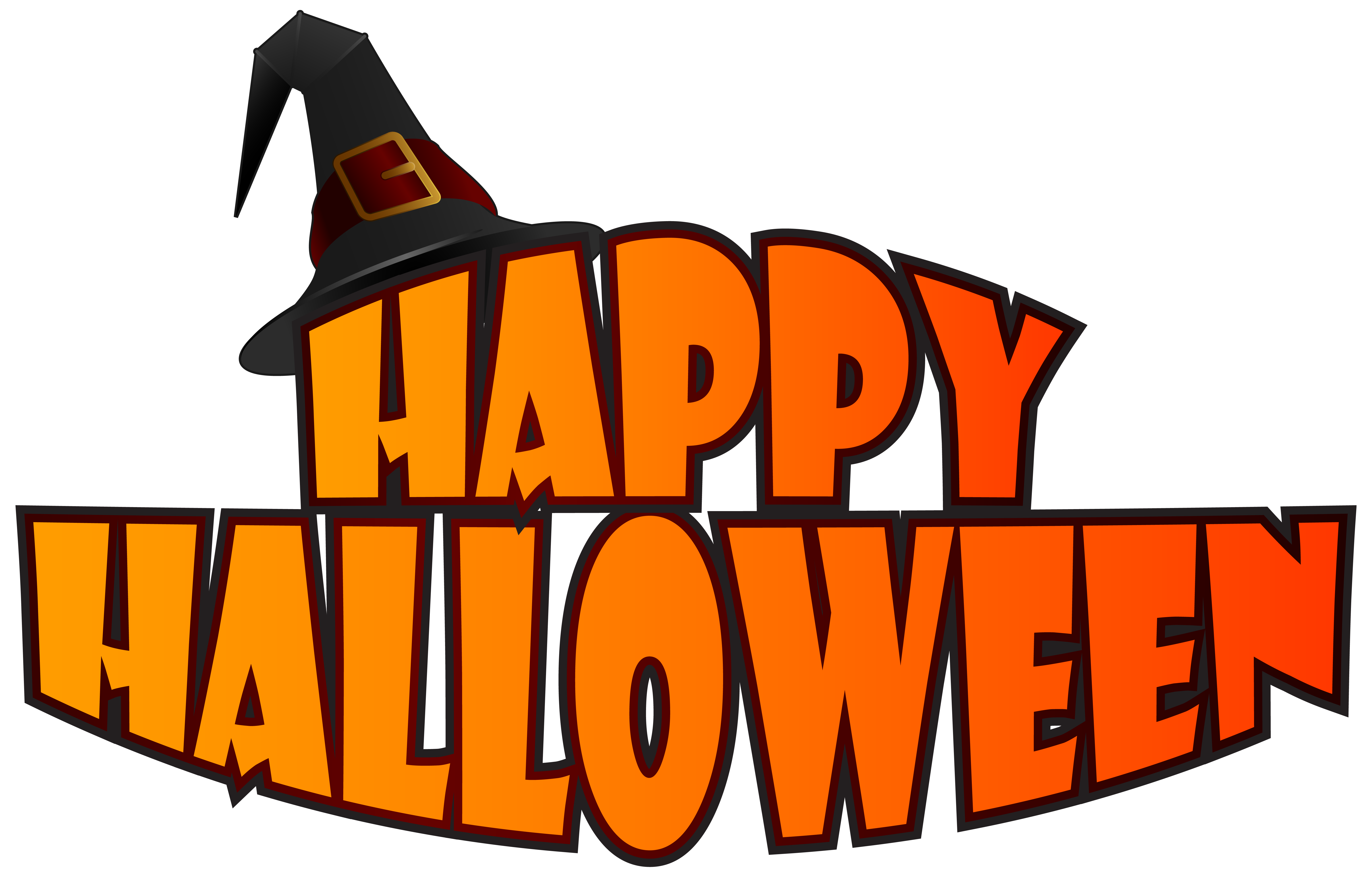 Happy Halloween with Witch Hat PNG Clipart Image.