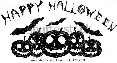 Happy Halloween Black And White Stock Vector Illustration.