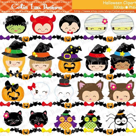 HALLOWEEN Clipart Happy Halloween Smiley Face Digital.