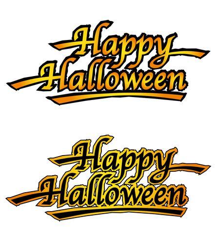 Set of two Happy Halloween logos, vector illustrations.