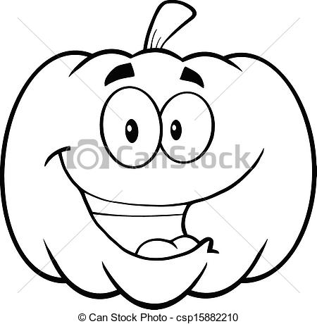 Vector Clip Art of Back And White Happy Pumpkin.