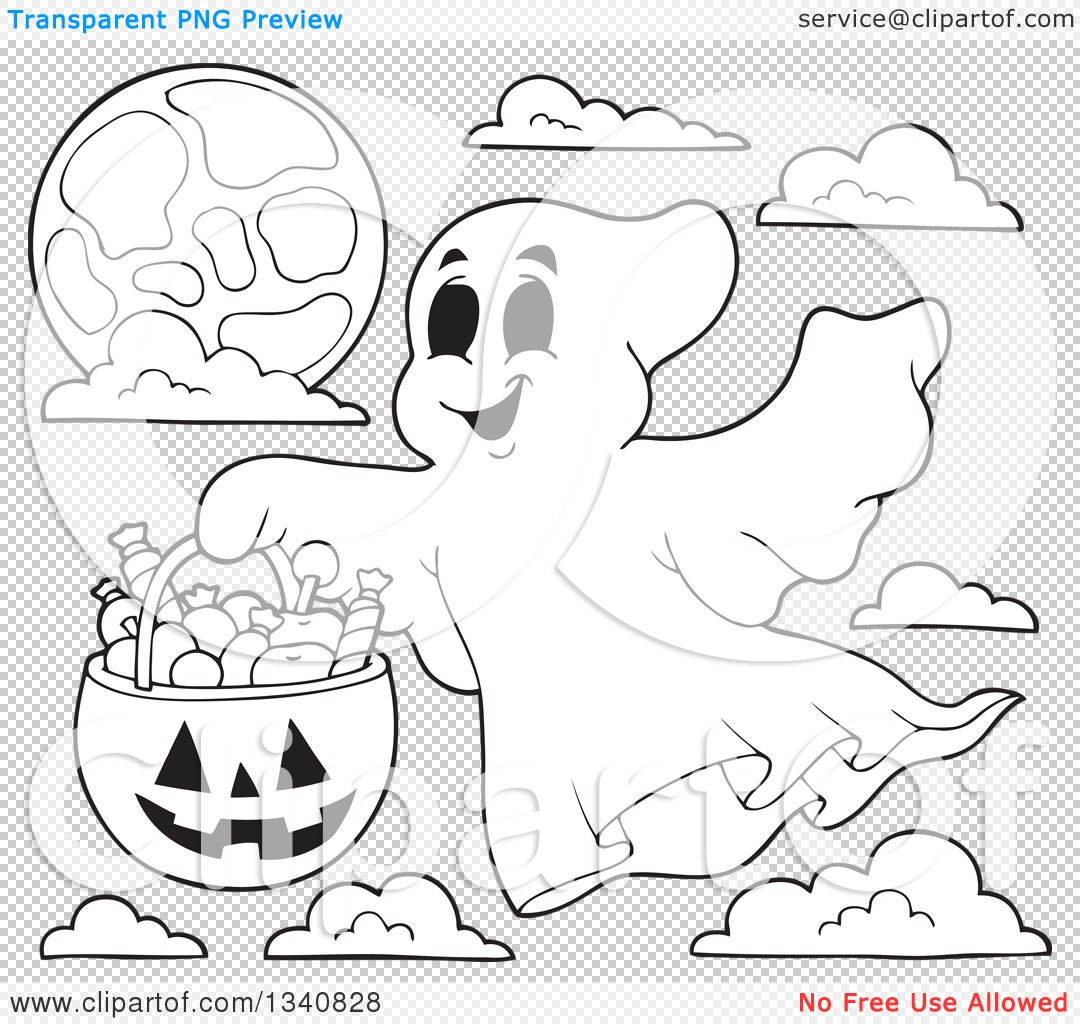 Lineart Clipart of a Cartoon Black and White Happy Halloween Ghost.
