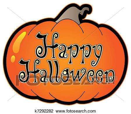 Pumpkin with Happy Halloween sign Clipart.