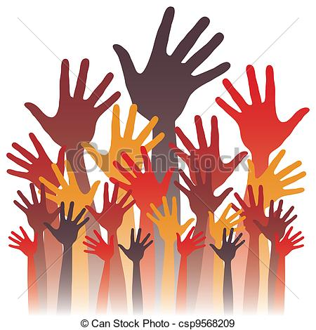 Large group of happy hands design..