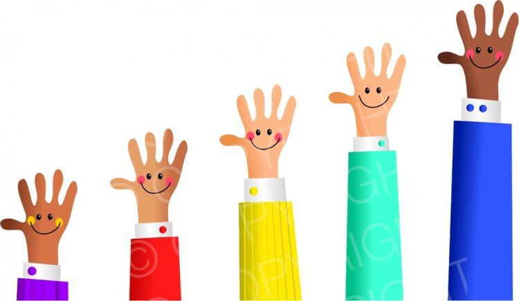 Happy Hands Business Growth Concept Clip Art.